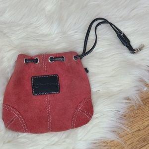 Vintage red suede mini satchel Franklin covey